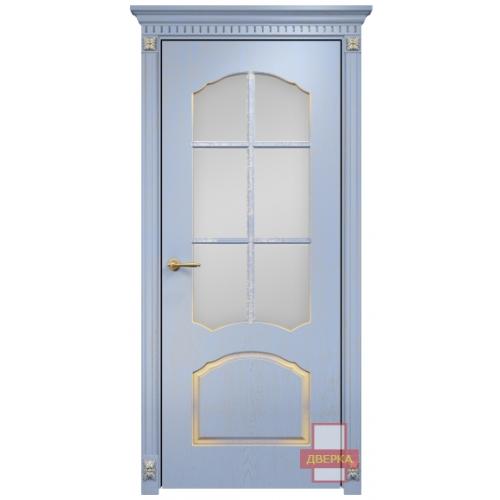 Диана стекло сатинат белый решетка (голубая эмаль)