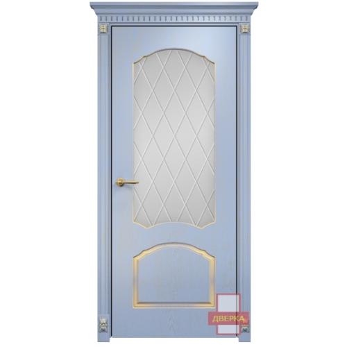 Диана стекло сатинат белый ромбы (голубая эмаль)