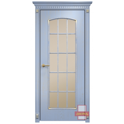 Глория стекло сатинат бронза решетка (голубая эмаль)