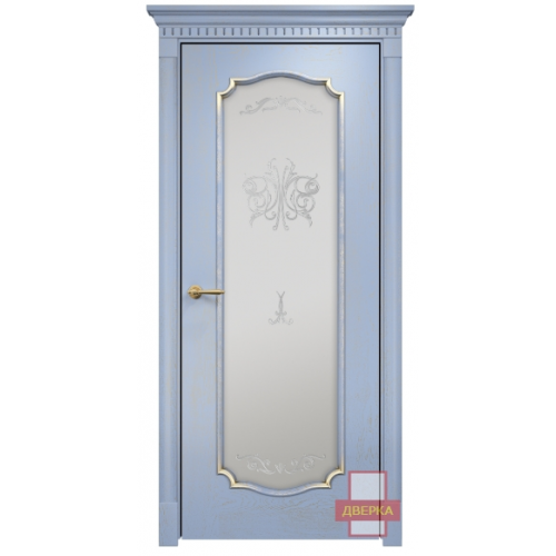 Венеция 2 стекло сатинат белый (голубая эмаль)