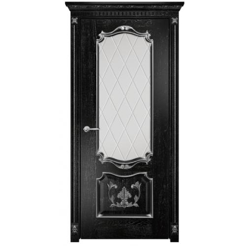 Венеция с декором стекло ромбы (черная эмаль патина)