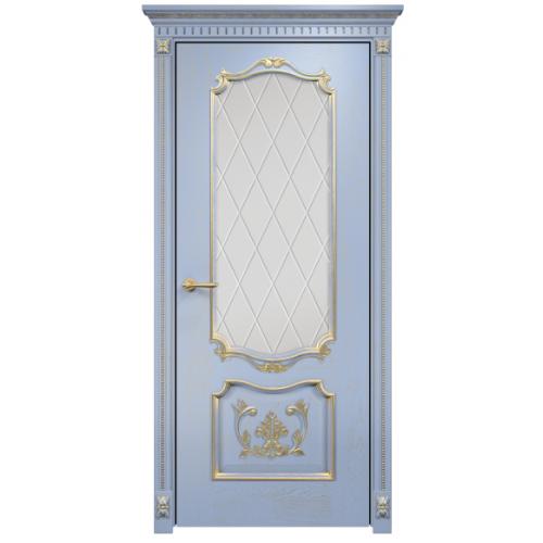 Венеция с декором стекло ромбы (голубая эмаль патина)