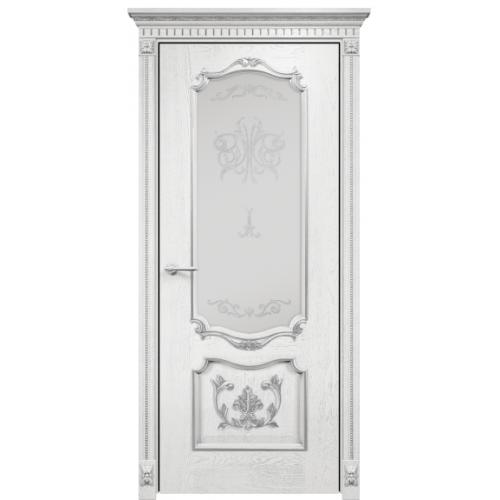 Венеция с декором стекло (белая эмаль патина серебро)