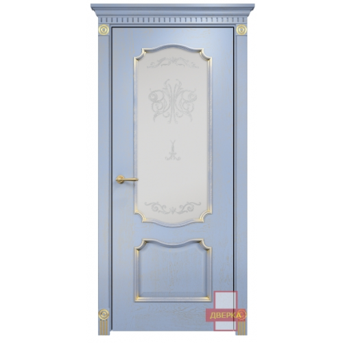 Венеция стекло сатинат белый (голубая эмаль)