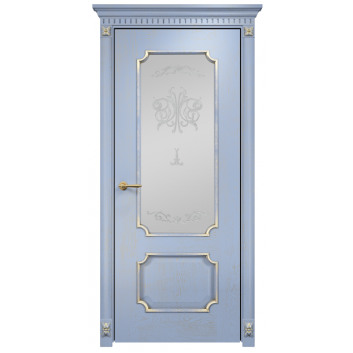 Палермо стекло сатинат белый (голубая эмаль)