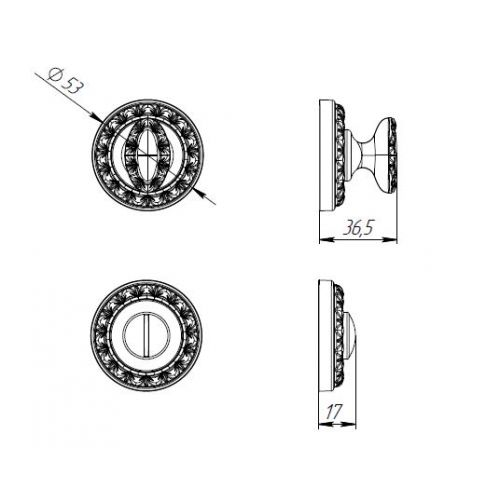 Ручка поворотная Punto (Пунто) BK6 MT CP-8 хром