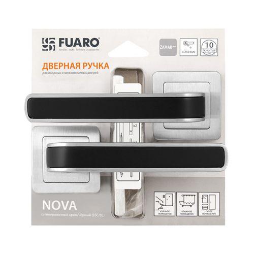 Ручка раздельная Fuaro (Фуаро) NOVA XM/HD SSC/BL-16 сатин хром/черный