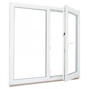 Окно ПВХ двустворчатое 116х100 см глухое/поворотное правое