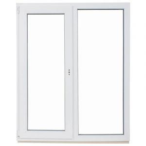 Окно ПВХ двустворчатое 144х116 см глухое/поворотно-откидное правое