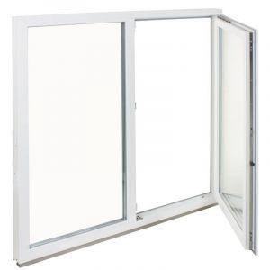 Окно ПВХ двустворчатое 144х145 см глухое/поворотно-откидное правое