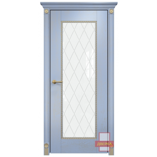 Александрия стекло триплекс белый ромбы (голубая эмаль)