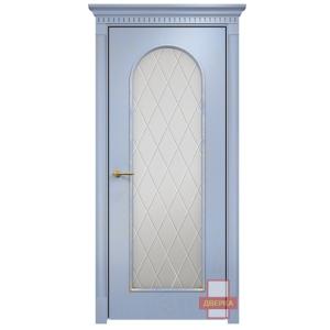 Арка 2 стекло сатинат белый ромбы (голубая эмаль)