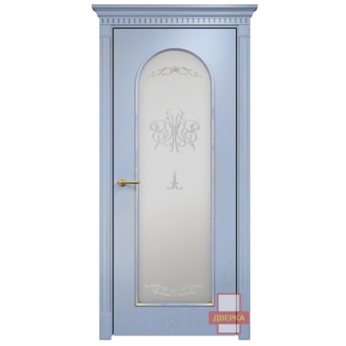 Арка 2 стекло сатинат белый (голубая эмаль)