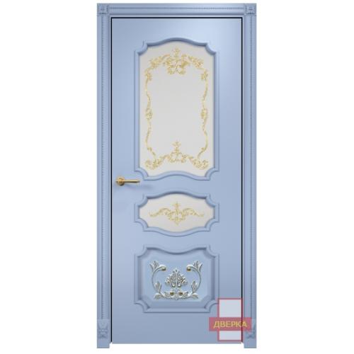 Барселона с декором стекло сатинат белый (голубая эмаль)
