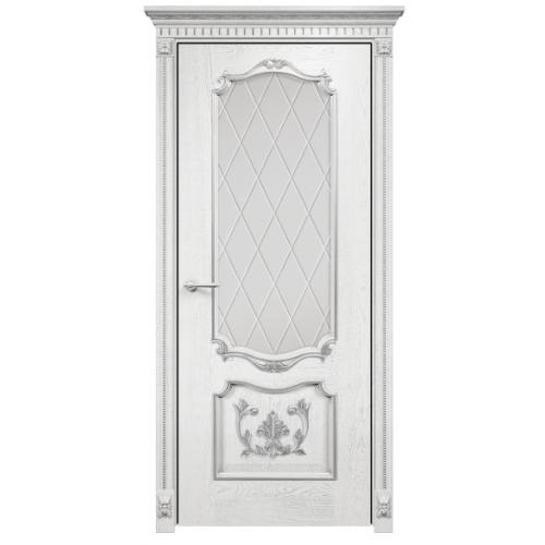 Венеция с декором стекло ромбы (белая эмаль патина серебро)