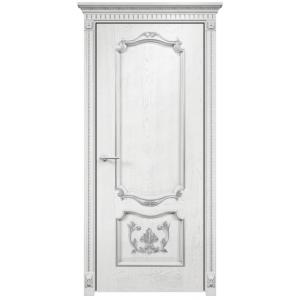 Венеция с декором глухое (белая эмаль патина серебро)