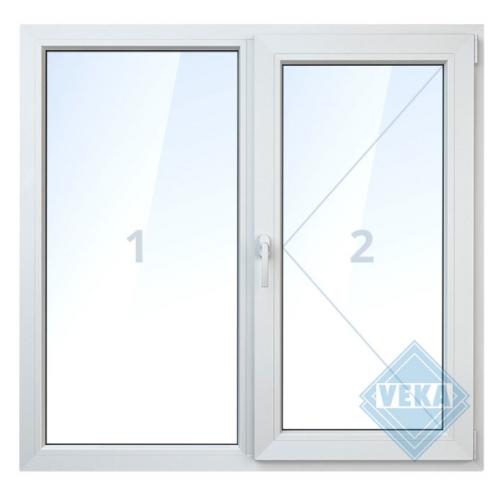 Окно ПВХ двустворчатое 140х120 см глухое/поворотное правое