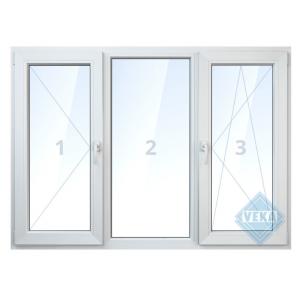 Окно ПВХ трёхстворчатое, 144х175 см, поворотное левое/глухое/поротно-откидное правое